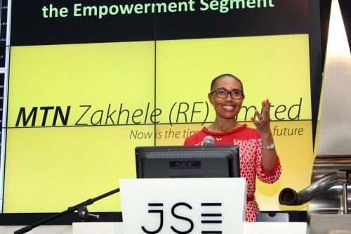 Sindi Mabaso-Koyana, MTN Zakhele Chairperson, at the JSE.