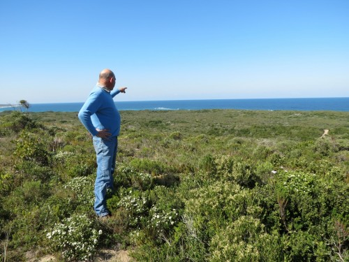 Hennie de Beer, Eskom's environmental and site manager at Thyspunt, points to where the nuclear reactor is planned about 200m from the shore at Thyspunt.