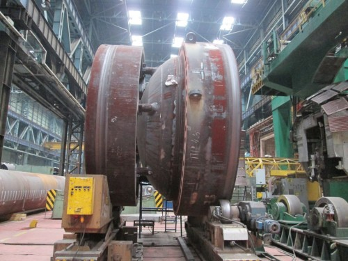 The top hat of a nuclear reactor being manufactured in the Atomenergomash plant in Volgandonsk in Russia. If the Russians get the contract to build nuclear power plants for South Africa, the reactors may be built at this facility.