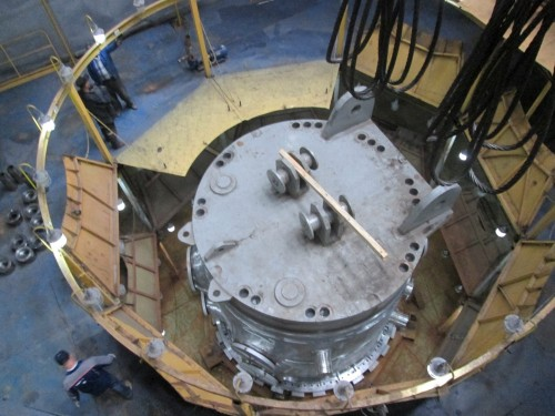 A nuclear reactor vessel being constructed at the Atomenergomash plant in Volgandonsk, Russia. The facility has the capacity to complete eight reactors simultaniously per year, but currently only produces three. This vessel is destined for Unit 1 of the Belarus Nuclear Plower Plant. Construction started in 2013 and delivery is scheduled for October 2015. The vessel weighs 320 ton, with a diameter of 4.5 m and hight of 12.5 m. The total weight of the reactor will be 800 ton. About 60-70 pf the construction time of a nuclear reactor is spent on actual construction and the balance on control and testing.