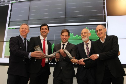 From left to right: Carel de Wit, Imran Suleman, Mark Kaplan, Gerald Leissner and Taffy Adler at the listing of Arrowhead on the JSE in 2015. Picture: Moneyweb