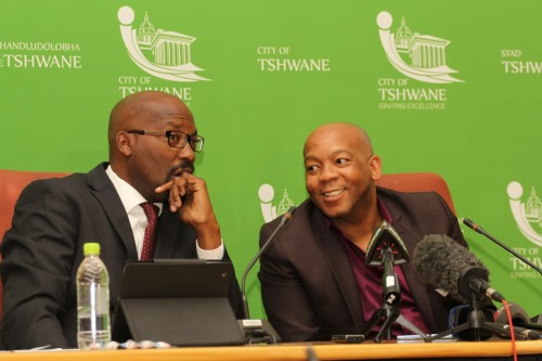 Tshwane City Manager Jason Ngobeni and mayor Kgosientso Ramakgopa during an earlier press briefing.The DA laid criminal charges against them relating to the City's smart metering contract with PEU Capital.