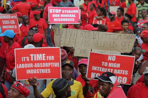 EFF members during the march to the JSE.