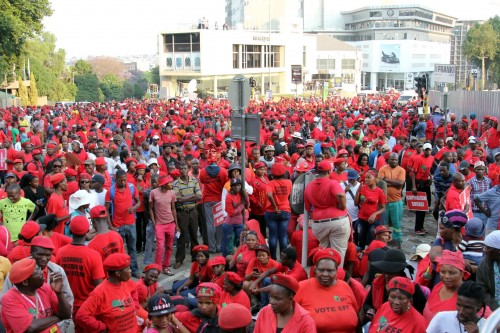 EFF members march to the JSE to hand over a memorandum to CEO Nicky Newton-King.