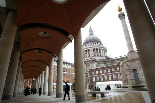 The walkway seen outside the London Stock Exchange building. Image: Graham Barclay, Bloomberg News