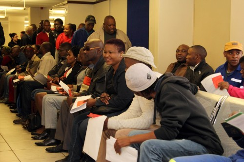 Taxpayers wait in line to be served at the Sars Pretoria CBD branch at the start of Tax Season on Wednesday.