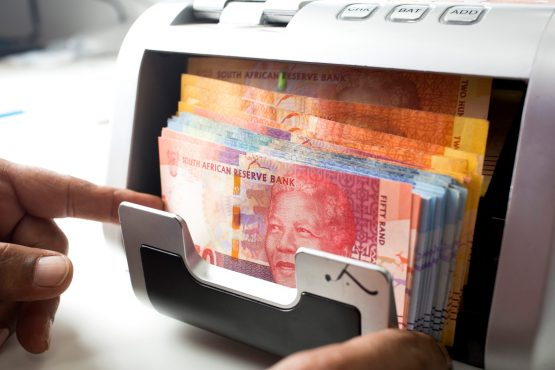 A counting machine had been installed at the Gupta compound. You could press the amount of money wanted, and the machine would dispense that amount. Image: Jason Alden, Bloomberg
