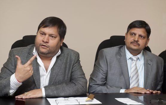 Ajay Gupta and younger brother Atul Gupta. For the Gupta companies in the ten months to July, the Bank of Baroda reported 36 suspicious transactions totalling R4.2 billion to the Fic. Pic: Gallo Images/Business Day/Martin Rhodes