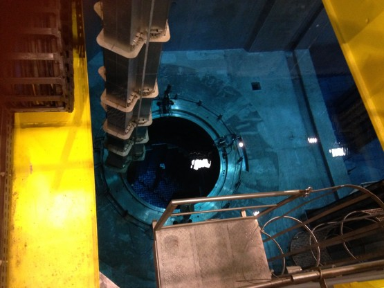 A mock-up of a nuclear reactor pool at the Cetic Maintenance Preparation and Qualification Centre, where trainees are taught to load fuel into a reactor and unload it. Cetic is a joint venture between France's Areva and EDF.