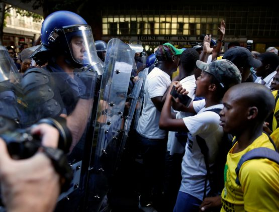 Punches fly as South Africa's parliament descends into chaos during Zuma speech
