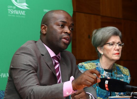 Tshwane mayor Solly Msimanga and finance MMC Mare-Lise Fourie pictured at an earlier media briefing. Image: Supplied