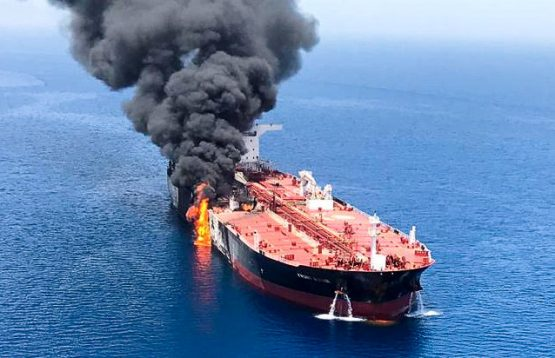 Iranian search and rescue teams have picked up 44 sailors from two damaged tankers in the Gulf of Oman, the Islamic Republic News Agency reported. Picture: Reuters