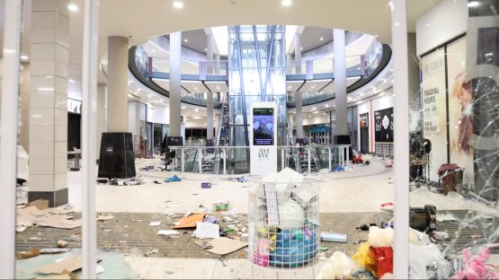 A view showing damage inside Growthpoint's Watercrest Mall in Hillcrest, west of Durban, following protests and looting last week. Image: Courtesy Kierran Allen/via Reuters