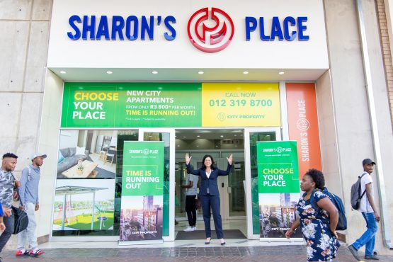 Octodec chair Sharon Wapnick at the entrance to the inner city residential property named after her.