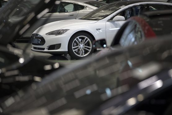 New Tesla Model S automobiles stand in a delivery area ahead of European shipping following final assembly at the Tesla Motors factory in the Netherlands. Picture: Jasper Juinen/Bloomberg