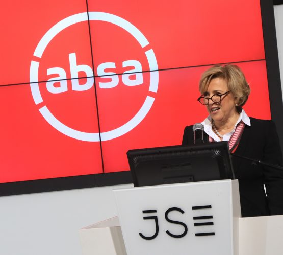 Absa Group CEO, Maria Ramos, with the bank's new branding. Picture: Supplied