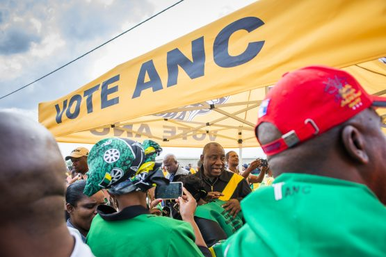 President Cyril Ramaphosa meets supporters during an ANC campaign event in Bloemfontein. Picture: Waldo Swiegers/Bloomberg