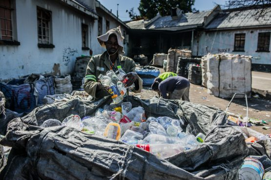 SiyaBuddy is one such enterprise which creates jobs and helps the environment by buying waste from local collectors, mostly women, and selling it to recycling companies. Image: Waldo Swiegers, Bloomberg