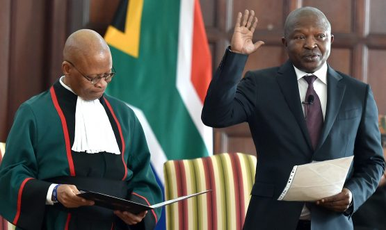 David Mabuza being sworn in by Chief Justice Mogoeng Mogoeng as a Member of Parliament. Picture: Jairus Mmutle/GCIS
