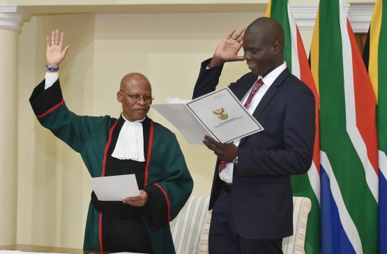 Justice minister Ronald Lamola (left) and Chief Justice Mogoeng Mogoeng. Picture: GCIS