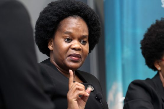 Acsa head Bongiwe Mbomvu speaking at the group's 2019 annual results presentation in Sandton on Tuesday. Image: Moneyweb