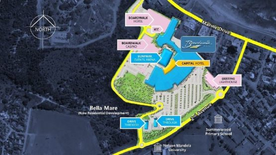 An aerial precinct plan showing the different components of the expanded Boardwalk Casino complex. Image: Supplied