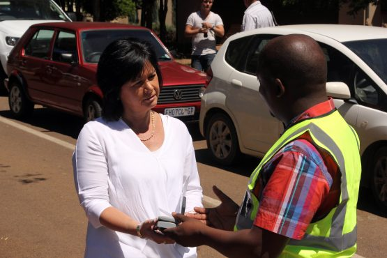 Bernice Saaiman, owner of the first property to receive a new meter, with City of Tswhane MMC Abel Tau.