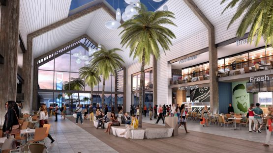 An artist's impression showing an interior perspective of the new mall, which will have around 80 stores. Image: Supplied