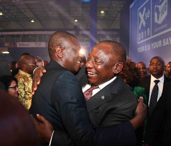 President Cyril Ramaphosa celebrates election announcement with Paul Mashatile. Picture: GCIS