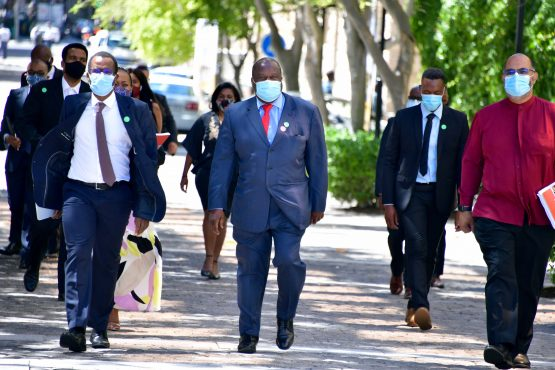 Tito Mboweni arriving at parliament on Wednesday. Image: GCIS