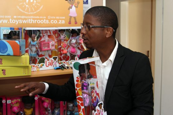 Thabo Motsabi of Toys with Roots, which worked with Shoprite to partner with a Chinese toy supplier that could produce a range of three dolls. Image: Moneyweb