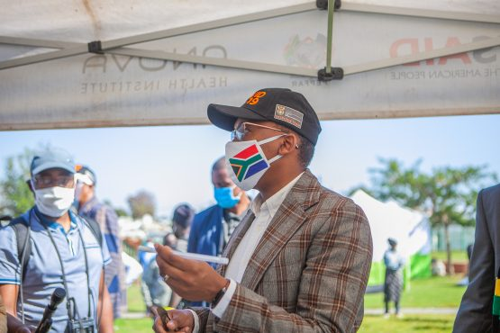 Gauteng MEC for Health, Dr Bandile Masuku, visiting a Covid-19 screening and testing site in Diepsloot, Johannesburg, earlier this month. The province reportedly accounts for 33% of Covid-19 tests in SA. Image: Gallo Images via Getty Images