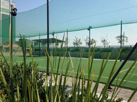 Netted area for ball sports.