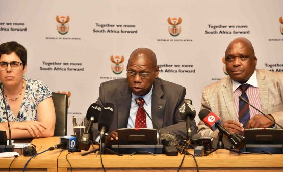 Minister of Health Dr Zweli Mkhize briefs the media on the first case of Coronavirus in South Africa at the Imbizo Media Centre in Parliament, in early March. Image: GCIS