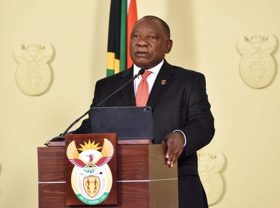 President Cyril Ramaphosa addressing the nation from the Union Buildings in Tshwane, on government's response on additional measures to contain the rapid spread of the coronavirus. Image: Jairus Mmutle, GCIS