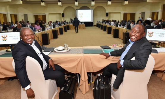 Cyril Ramaphosa chairing the 2020 Cabinet Lekgotla at the presidential guest house in Pretoria on January 29. Image: Jairus Mmutle, GCIS