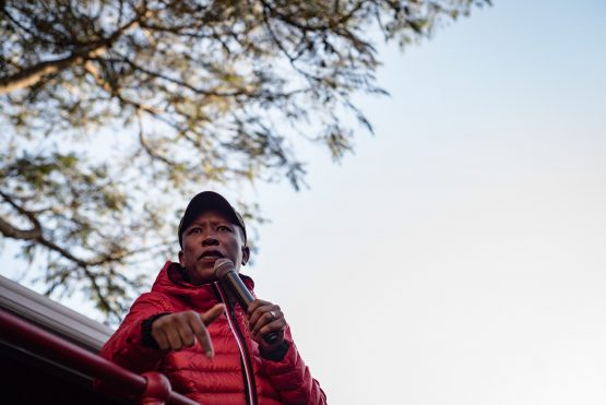 EFF leader Julius Malema presents himself to the Hawks over allegations of him shooting a rifle into the air the party's anniversary celebrations last year. Image: Jacques Nelles