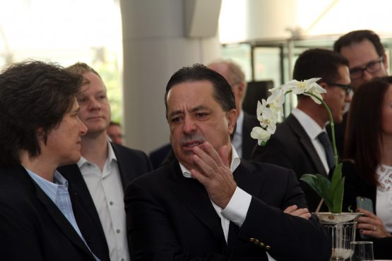 Former Steinhoff CEO Markus Jooste (right) in conversation with CEO of the JSE Nicky Nwton-King (left) at the listing of Steinhoff Africa Retail (Star) earlier this year. Picture: Moneyweb