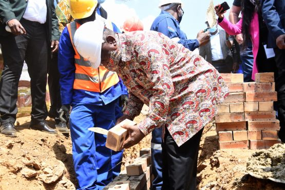 Getting his hands dirty... President Ramaphosa laying bricks at the ceremonial launch of the project. Image: Siyabulela Duda/ GCIS