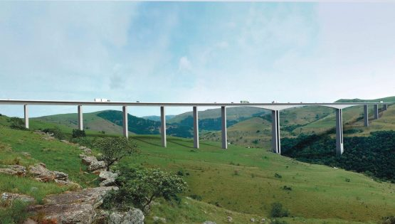 Once complete, the Mtentu River bridge outside Xolobeni in the Eastern Cape will be one of the highest bridges in the world and one of the longest in Africa. Image: Sanral