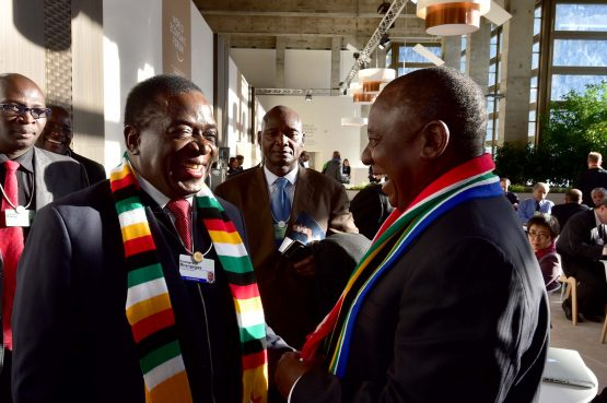 Deputy President Cyril Ramaphosa meeting with Zimbabwe President Emmerson Mnangagwa at the World Economic Forum in Davos. Picture: Supplied