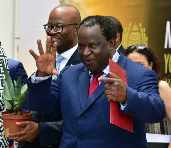 Finance Minister Tito Mboweni flanked by Treasury director-general Dondo Mogajane is in this file picture, taken ahead of the 2019 budget speech. Image: Elmond Jiyane, GCIS
