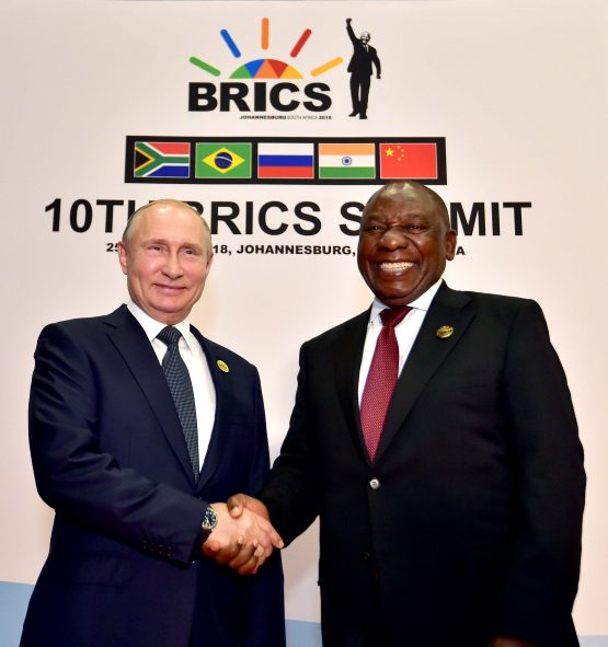 President Cyril Ramaphosa and Russian president Vladimir Putin at the Brics summit. Picture: GCIS