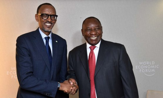 Deputy President, Cyril Ramaphosa meets Rwandan President Paul Kagame at WEF. Picture: GCIS