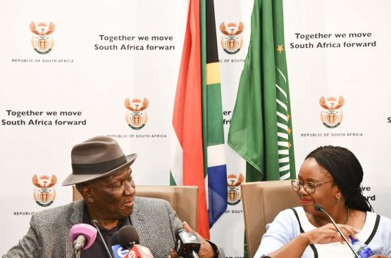 Ministers Cele and Kubayi-Ngubane at the joint tourism safety initiative media briefing in Pretoria on Thursday. Image: GCIS