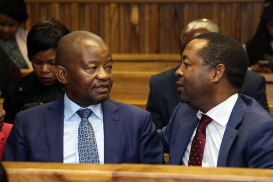 Peter Moyo (left) with lawyer Eric Mabuza (right) in session at the high court. Picture: Moneyweb