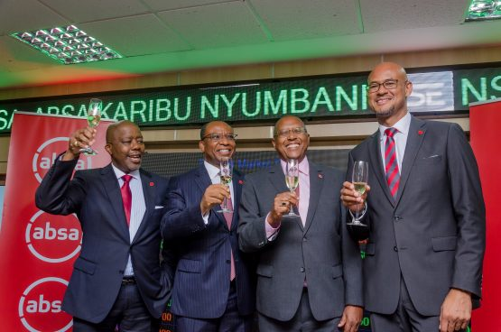 Celebrating the launch of Absa Kenya's new ticker on the Nairobi Stock Exchange on Wednesday – (from left): Peter Matlare, Daniel Mminele, Absa Bank Kenya chair Charles Muchene, and Jeremy Awori. Image: Supplied