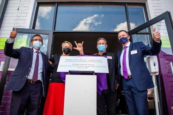At the opening of the new factory in Hillbrow were, from left, Minister Ebrahim Patel, together with Ingrid Parkin, Graham Choice and TFG CEO, Anthony Thunstrom. Image Supplied