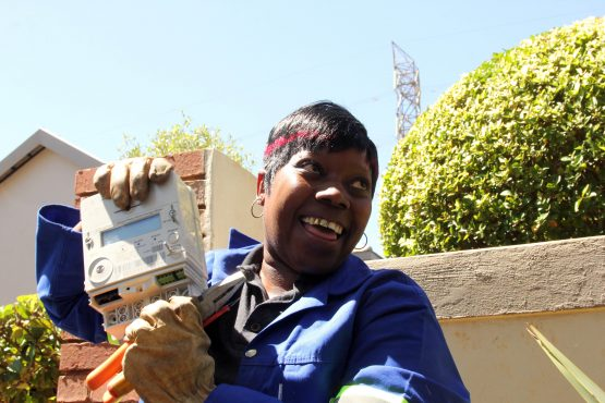 Rosina Mohale from the City of Tshwane replaced the first meter.