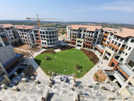 An aerial view of one of the piazza areas of the new development at Steyn City. Image: Suren Naidoo, Moneyweb